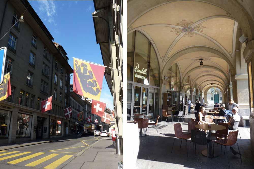 Suisse - Berne : Rue pavoisée et café sous les arcades