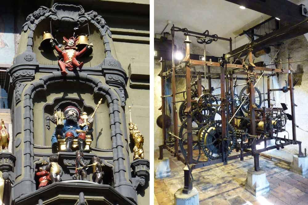 Le carillon et, à droite, le mécanisme de l'horloge astronomique (Berne)